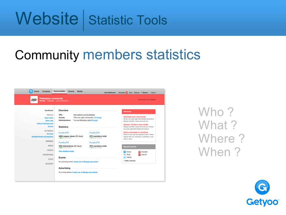 Website Statistic Tools Community members statistics Who ? What ? Where ? When ?