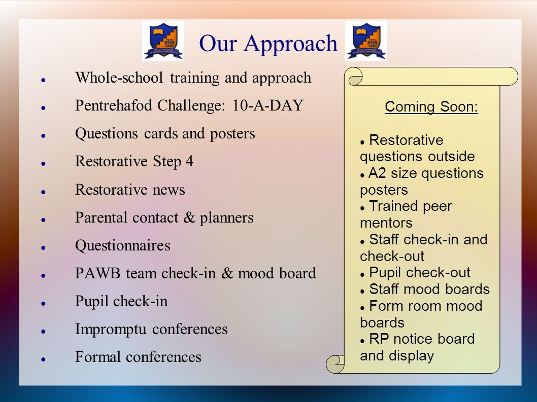 Our Approach Whole-school training and approach Pentrehafod Challenge: 10-A-DAY Questions cards and posters Restorative Step 4 Restorative news Parental contact & planners Questionnaires PAWB team check-in & mood board Pupil check-in Impromptu conferences Formal conferences Coming Soon: Restorative questions outside A2 size questions posters Trained peer mentors Staff check-in and check-out Pupil check-out Staff mood boards Form room mood boards RP notice board and display