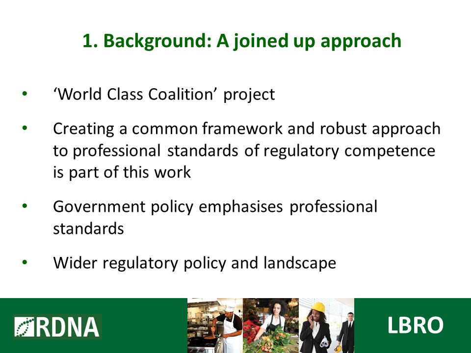 'World Class Coalition' project Creating a common framework and robust approach to professional standards of regulatory competence is part of this work Government policy emphasises professional standards Wider regulatory policy and landscape LBRO 1.