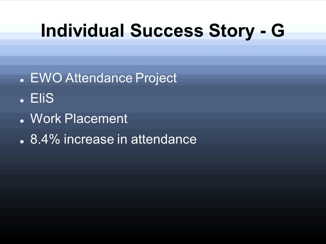 EWO Attendance Project EliS Work Placement 8.4% increase in attendance