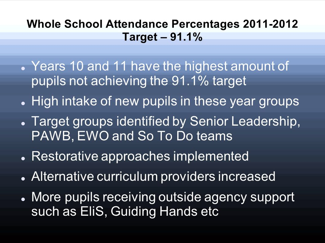 Years 10 and 11 have the highest amount of pupils not achieving the 91.1% target High intake of new pupils in these year groups Target groups identified by Senior Leadership, PAWB, EWO and So To Do teams Restorative approaches implemented Alternative curriculum providers increased More pupils receiving outside agency support such as EliS, Guiding Hands etc