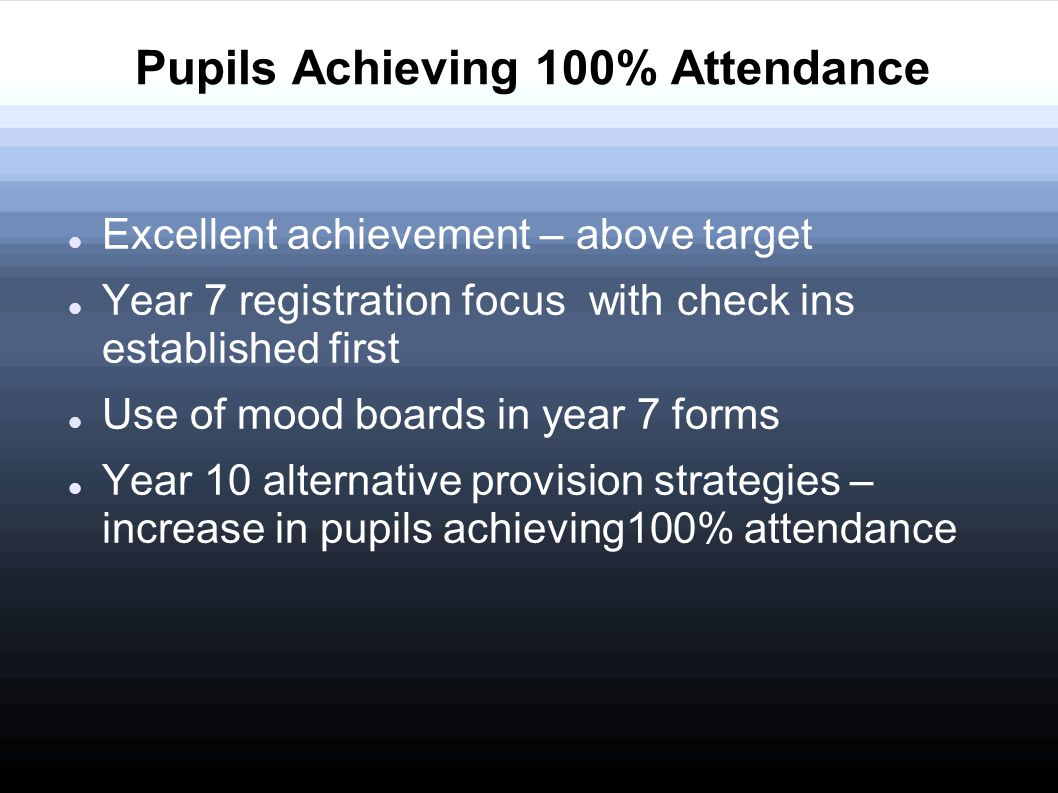 Excellent achievement – above target Year 7 registration focuswith check ins established first Use of mood boards in year 7 forms Year 10 alternative
