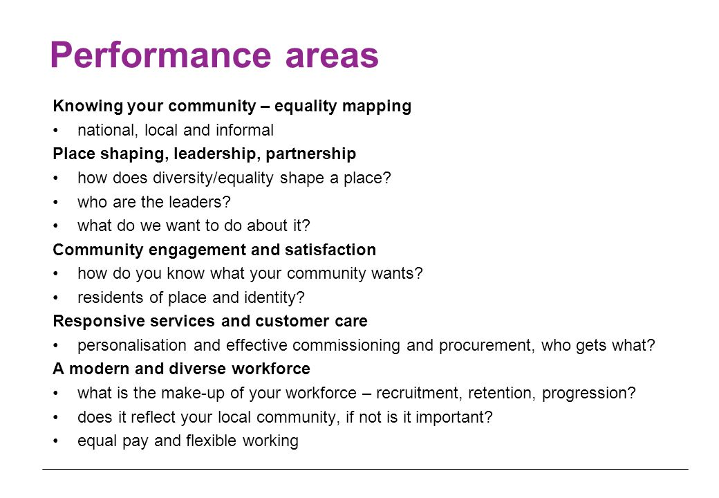 Performance areas Knowing your community – equality mapping national, local and informal Place shaping, leadership, partnership how does diversity/equality shape a place.