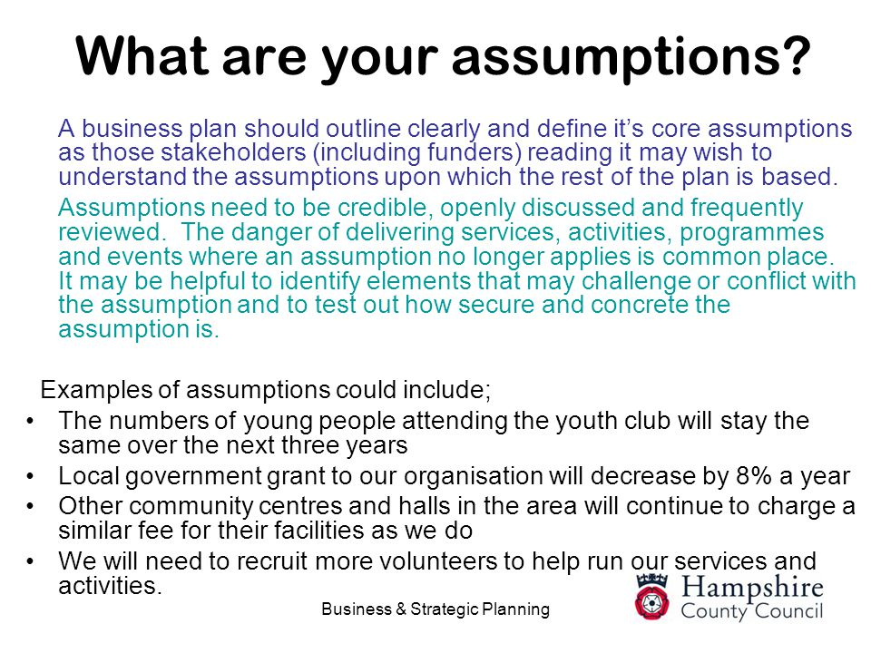 Business & Strategic Planning What are your assumptions? A business plan should outline clearly and define it's core assumptions as those stakeholders