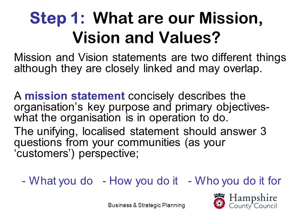 business plan vision statement