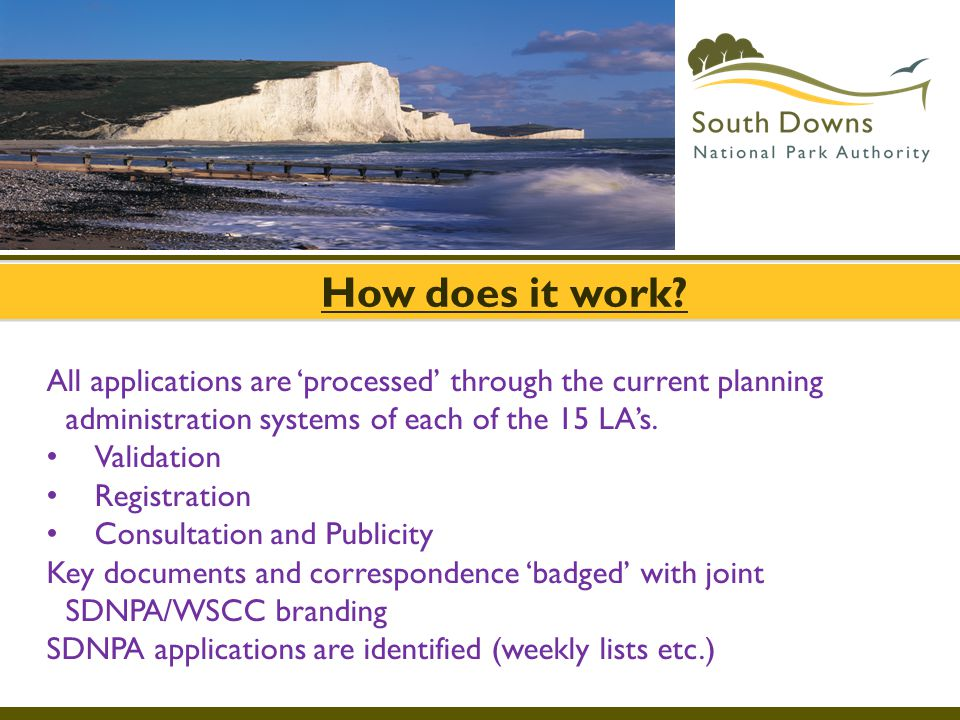 How does it work? All applications are 'processed' through the current planning administration systems of each of the 15 LA's. Validation Registration