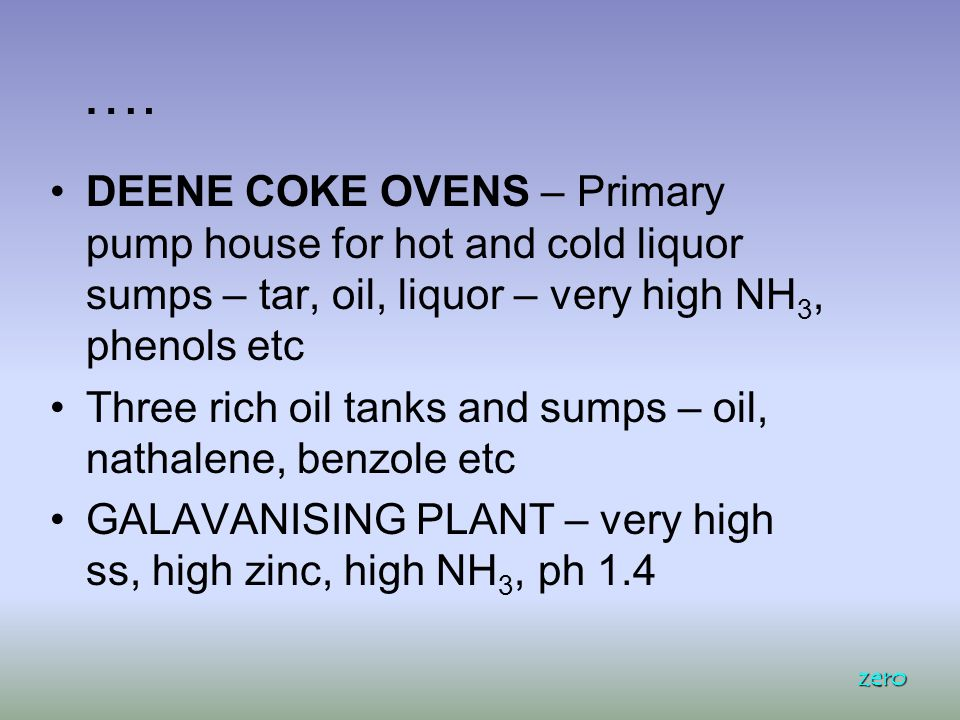 …. DEENE COKE OVENS – Primary pump house for hot and cold liquor sumps – tar, oil, liquor – very high NH 3, phenols etc Three rich oil tanks and sumps