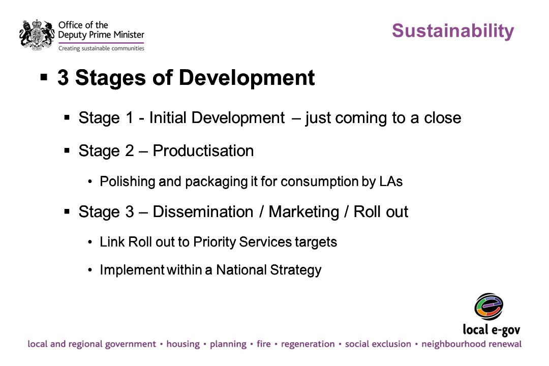 Sustainability  3 Stages of Development  Stage 1 - Initial Development – just coming to a close  Stage 2 – Productisation Polishing and packaging i