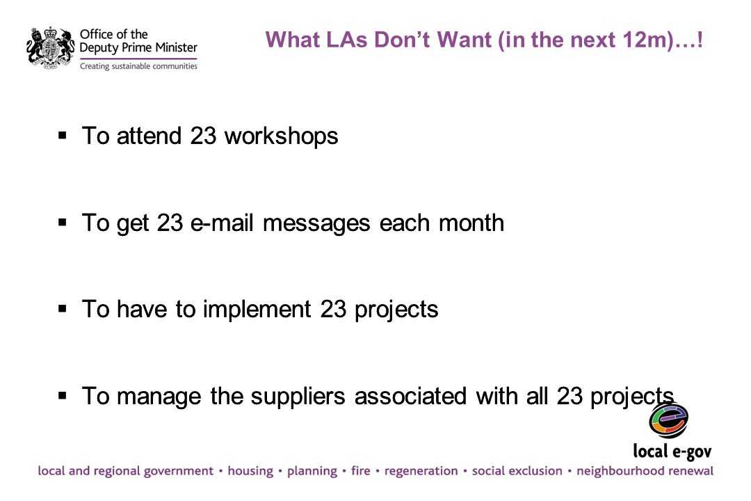 What LAs Don't Want (in the next 12m)…!  To attend 23 workshops  To get 23 e-mail messages each month  To have to implement 23 projects  To manage