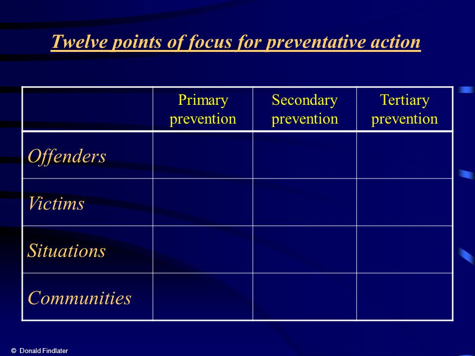 Twelve points of focus for preventative action Primary prevention Secondary prevention Tertiary prevention Offenders Victims Situations Communities