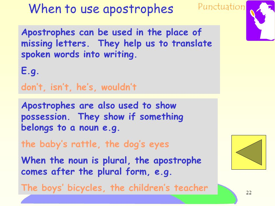 Punctuation 21 You have chosen apostrophes. In your casebook: 1.explain the different uses for apostrophes 2.give examples of how they may be used in