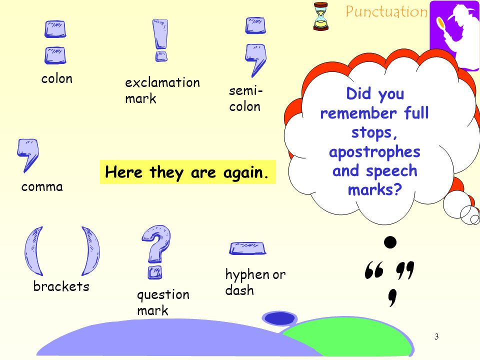 Punctuation 2 hyphen or dash question mark comma semi- colon exclamation mark colon brackets TASK 1: you are going to see some punctuation marks. As y