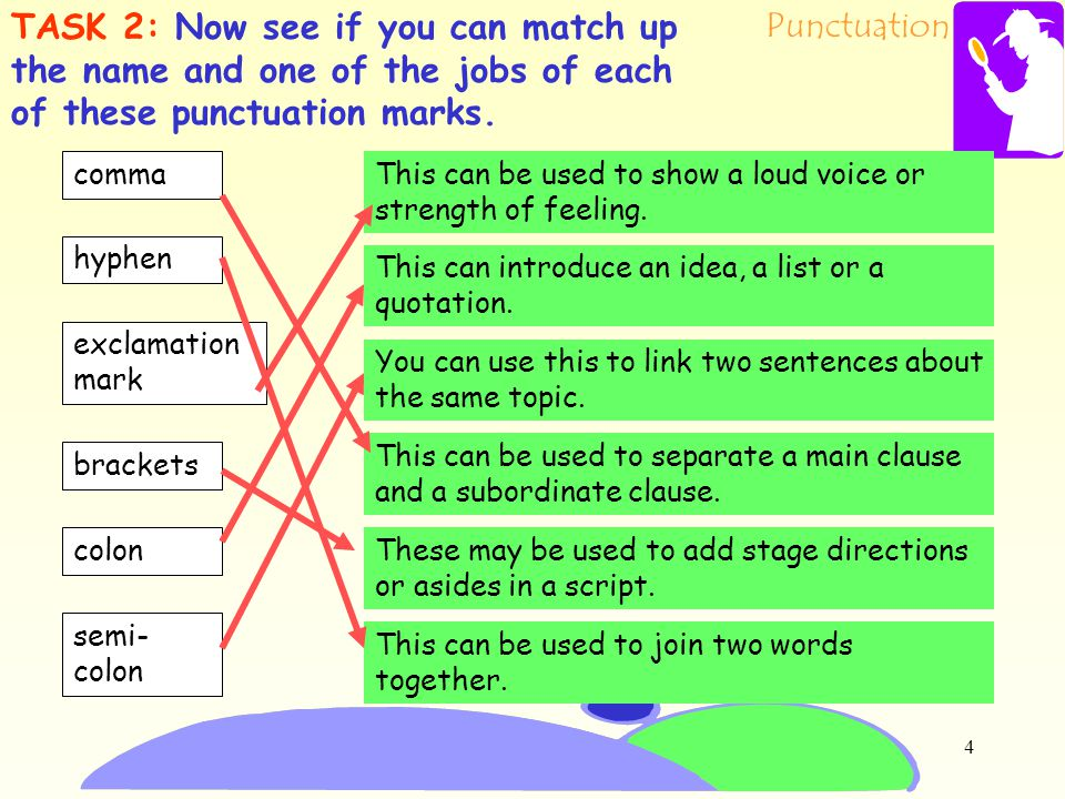 Punctuation 3 Here they are again. comma hyphen or dash question mark semi- colon exclamation mark colonbrackets You have five seconds to think of 3 m