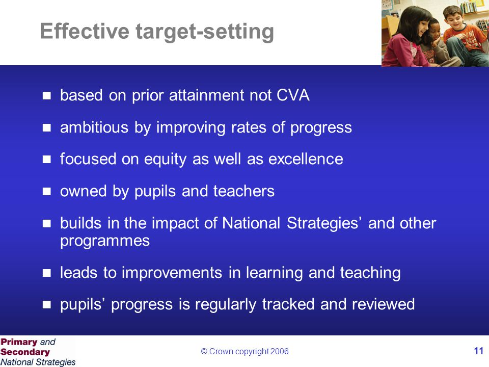 © Crown copyright 2006 11 Effective target-setting based on prior attainment not CVA ambitious by improving rates of progress focused on equity as well as excellence owned by pupils and teachers builds in the impact of National Strategies' and other programmes leads to improvements in learning and teaching pupils' progress is regularly tracked and reviewed