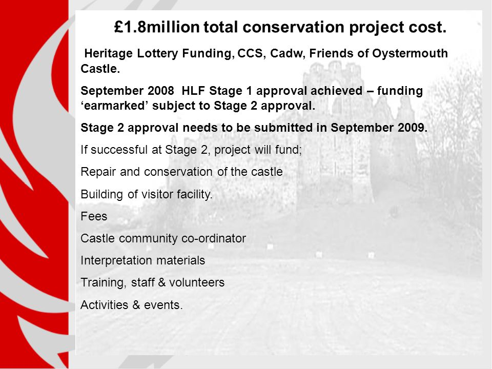 £1.8million total conservation project cost. Heritage Lottery Funding, CCS, Cadw, Friends of Oystermouth Castle. September 2008 HLF Stage 1 approval a