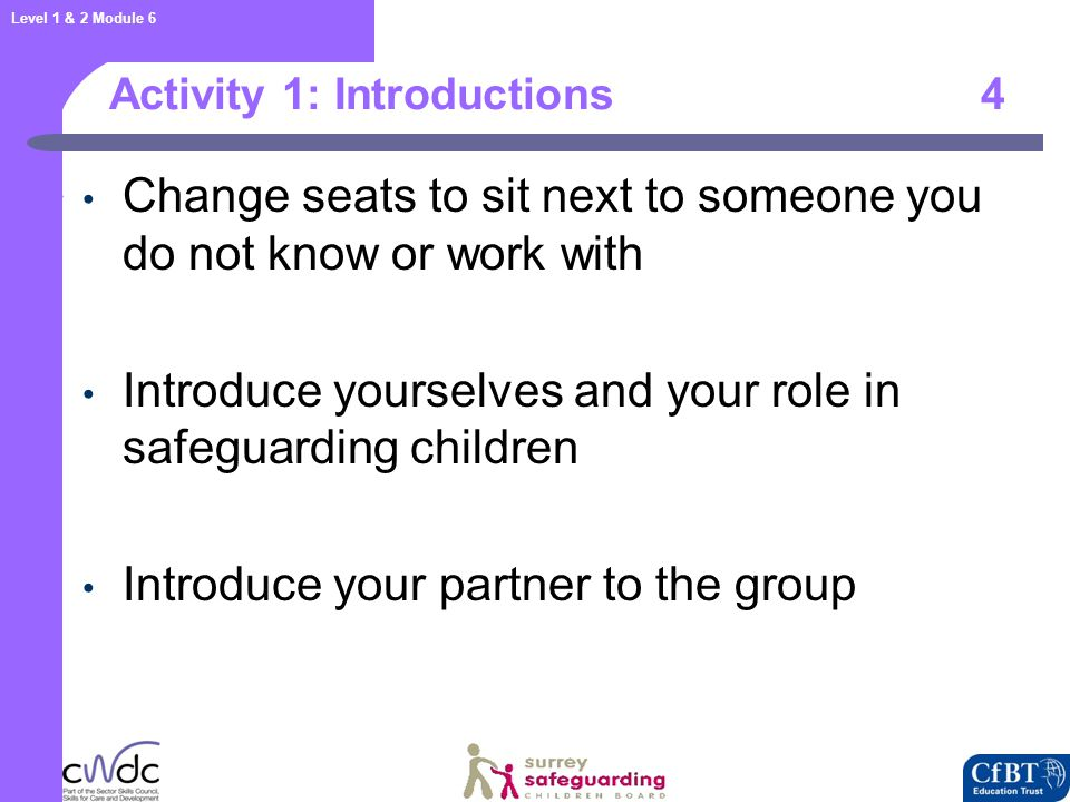 Level 1 & 2 Module 6 Aim 5 To provide participants with the opportunity to develop awareness of what to do if they have concerns about the safety and welfare of children and young people