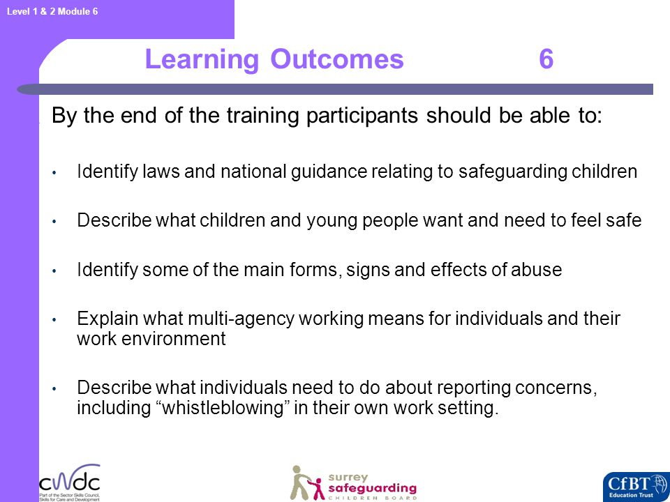 Level 1 & 2 Module 6 Activity 2 : What do children need to be safe.