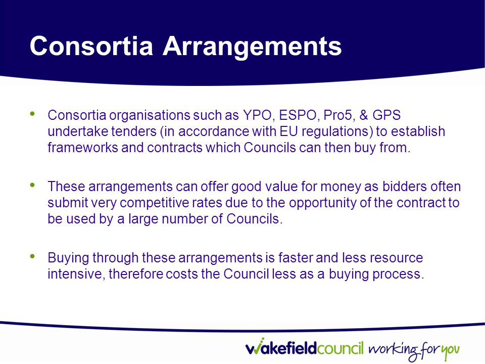 Consortia Arrangements YPO contracts also cover a large range of high volume, low value goods which the Council requires.