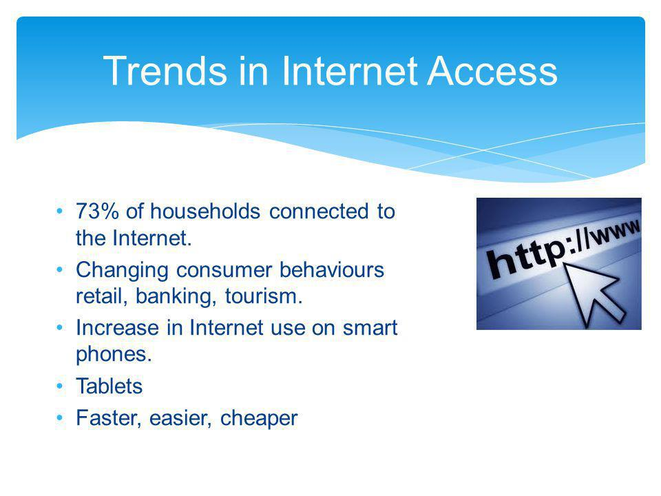 Trends in Internet Access 73% of households connected to the Internet. Changing consumer behaviours retail, banking, tourism. Increase in Internet use
