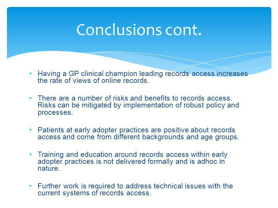 Having a GP clinical champion leading records access increases the rate of views of online records.