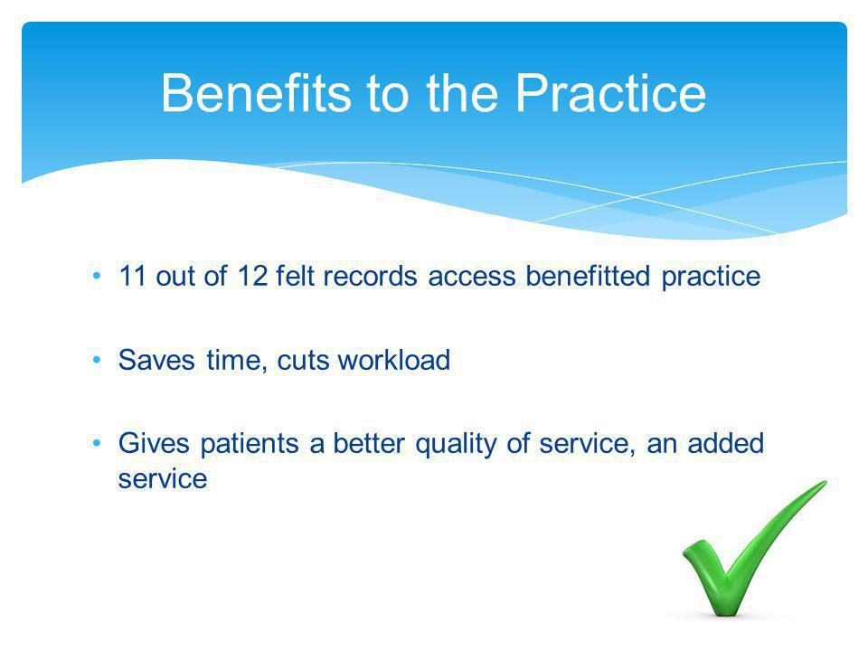 11 out of 12 felt records access benefitted practice Saves time, cuts workload Gives patients a better quality of service, an added service Benefits to the Practice