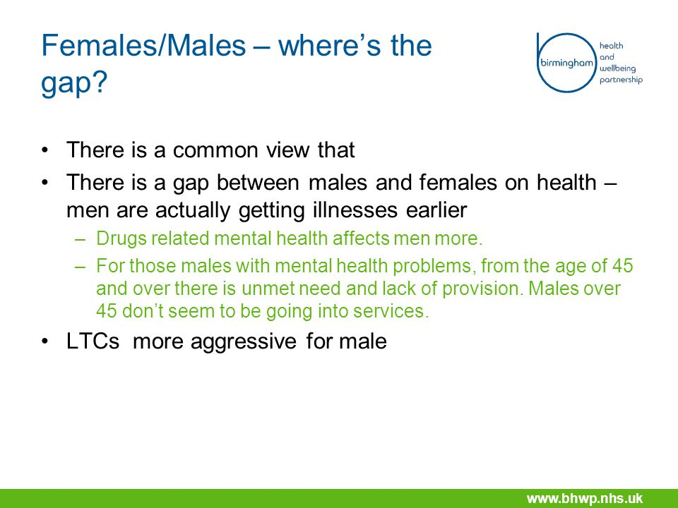 www.bhwp.nhs.uk Females/Males – where's the gap.