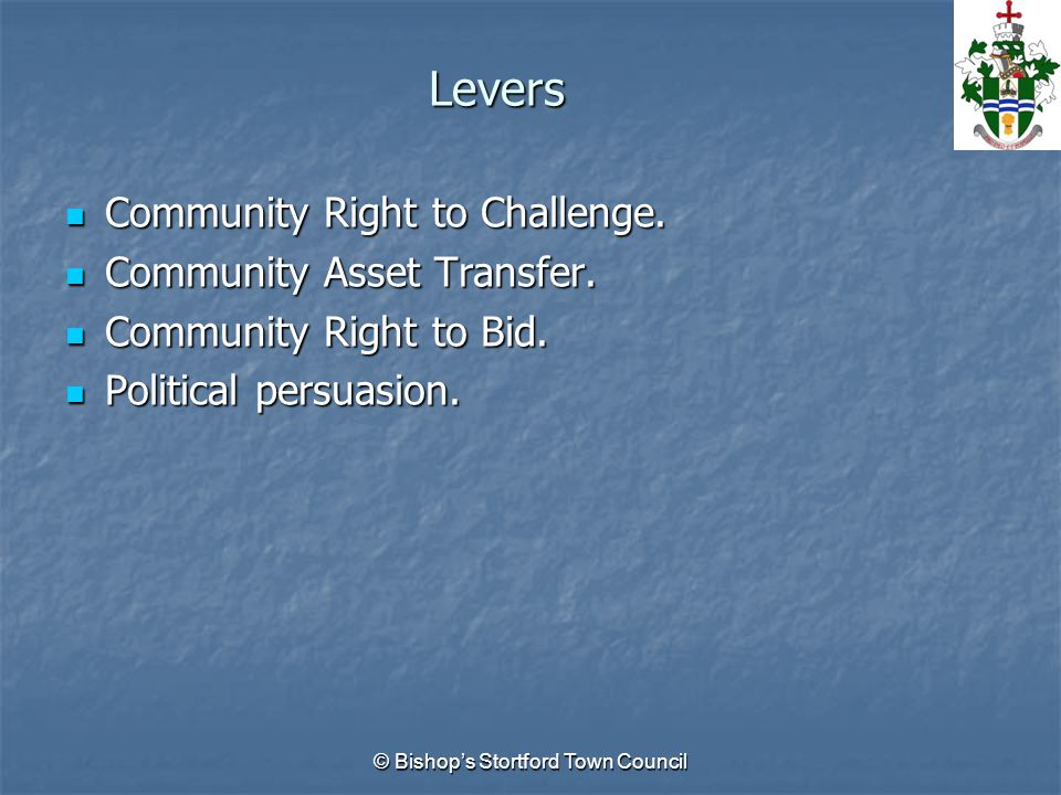 Levers Community Right to Challenge. Community Right to Challenge.