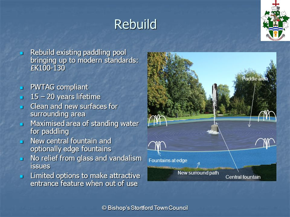 Rebuild Rebuild existing paddling pool bringing up to modern standards: £K100-130 Rebuild existing paddling pool bringing up to modern standards: £K100-130 PWTAG compliant PWTAG compliant 15 – 20 years lifetime 15 – 20 years lifetime Clean and new surfaces for surrounding area Clean and new surfaces for surrounding area Maximised area of standing water for paddling Maximised area of standing water for paddling New central fountain and optionally edge fountains New central fountain and optionally edge fountains No relief from glass and vandalism issues No relief from glass and vandalism issues Limited options to make attractive entrance feature when out of use Limited options to make attractive entrance feature when out of use © Bishop's Stortford Town Council Paddle area New surround path Central fountain Fountains at edge
