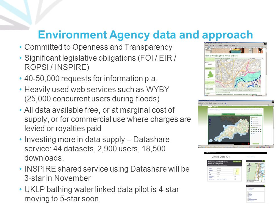 Environment Agency data and approach Committed to Openness and Transparency Significant legislative obligations (FOI / EIR / ROPSI / INSPIRE) 40-50,00