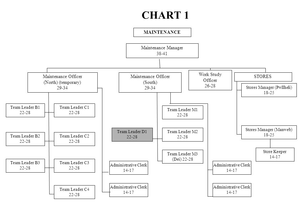 CHART 1 MAINTENANCE Maintenance Manager 38-41 Maintenance Officer (North) (temporary) 29-34 Maintenance Officer (South) 29-34 STORES Team Leader B1 22-28 Team Leader B2 22-28 Team Leader B3 22-28 Team Leader C1 22-28 Team Leader C2 22-28 Team Leader C3 22-28 Team Leader C4 22-28 Administrative Clerk 14-17 Administrative Clerk 14-17 Team Leader D1 22-28 Team Leader M1 22-28 Team Leader M2 22-28 Team Leader M3 (Dei) 22-28 Administrative Clerk 14-17 Administrative Clerk 14-17 Stores Manager (Pwllheli) 18-25 Stores Manager (Manweb) 18-25 Store Keeper 14-17 Work Study Officer 26-28