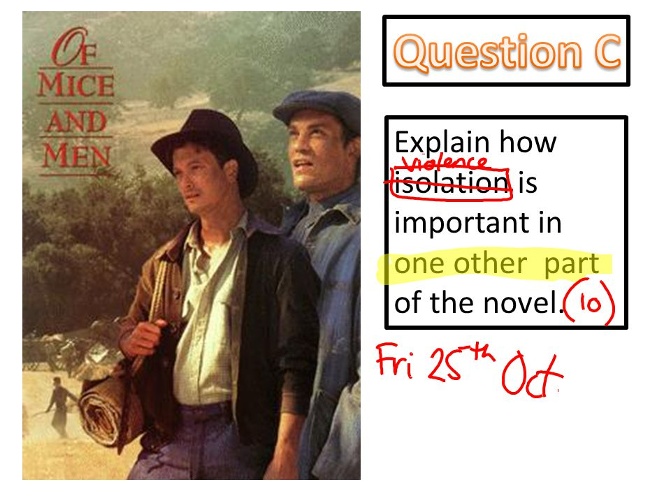 Explain how isolation is important in one other part of the novel.