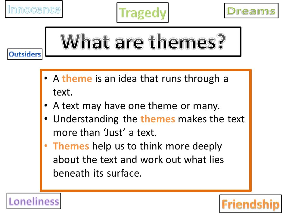 A theme is an idea that runs through a text. A text may have one theme or many. Understanding the themes makes the text more than 'Just' a text. Theme