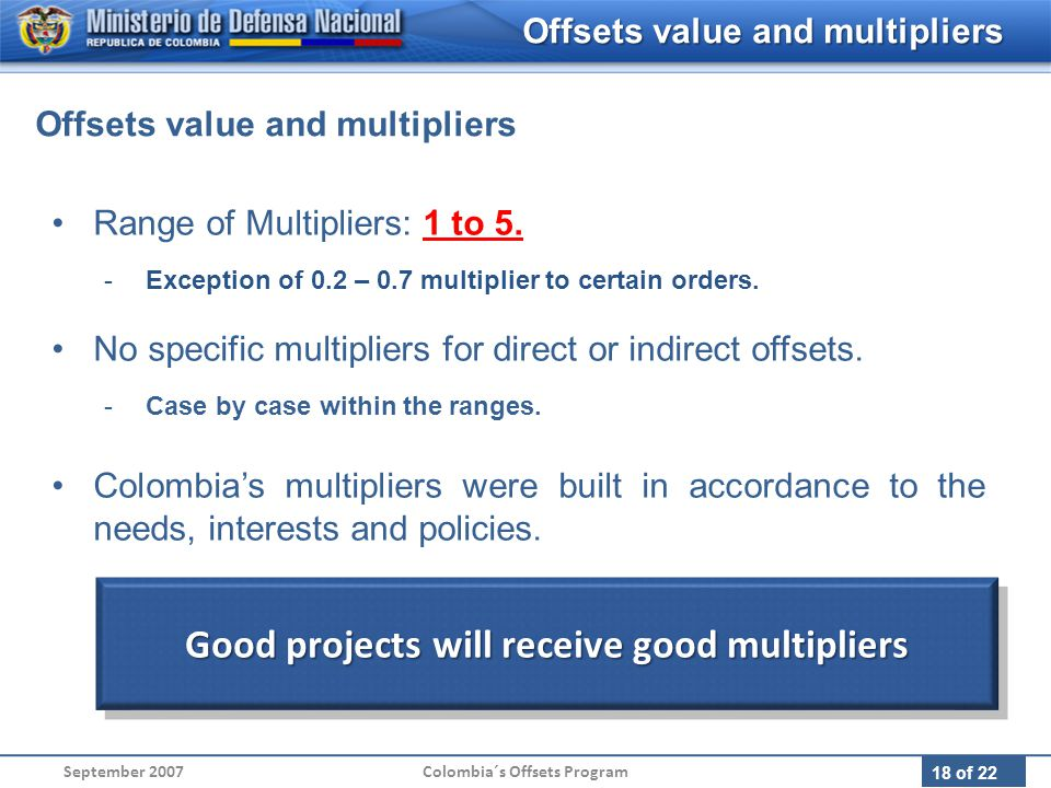 18 of 22 Range of Multipliers: 1 to 5. -Exception of 0.2 – 0.7 multiplier to certain orders.