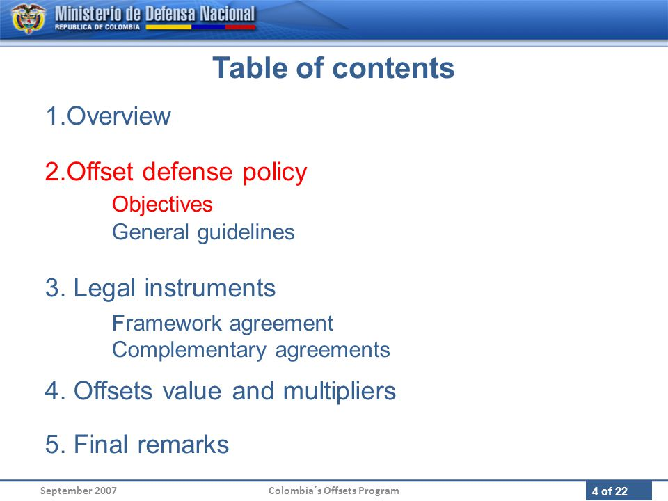 15 of 22 1.Overview 2.Offset defense policy Objectives General guidelines 3.