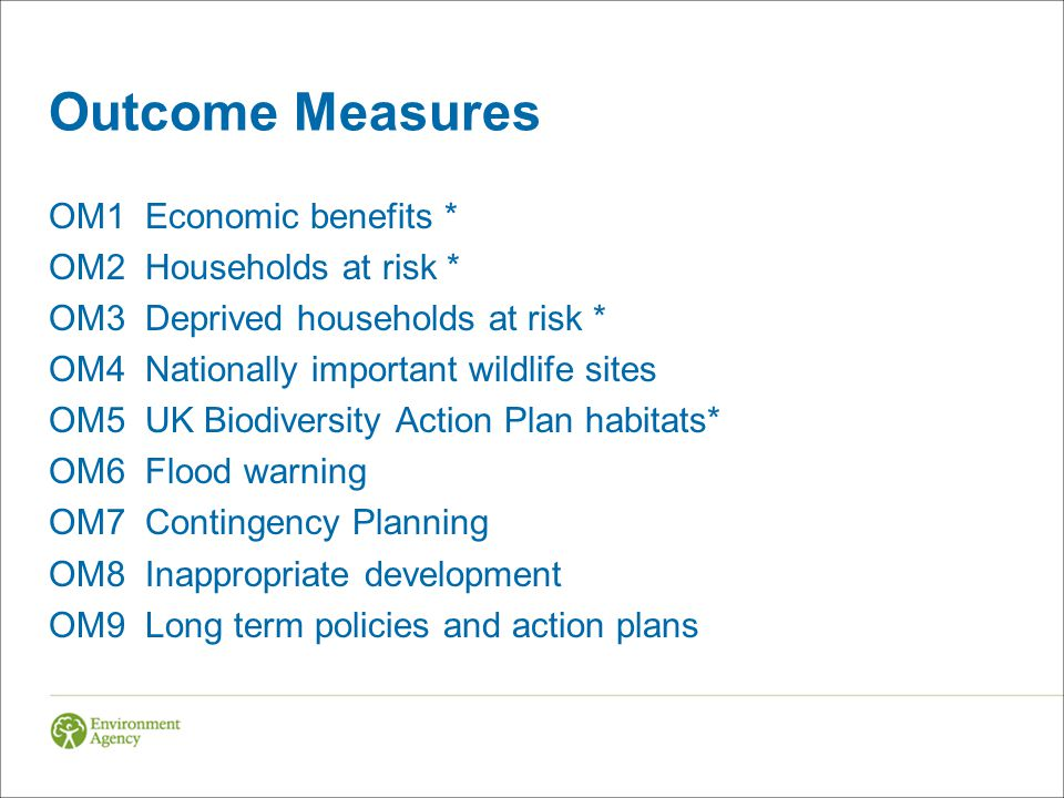 Outcome Measures OM1 Economic benefits * OM2 Households at risk * OM3 Deprived households at risk * OM4 Nationally important wildlife sites OM5 UK Bio