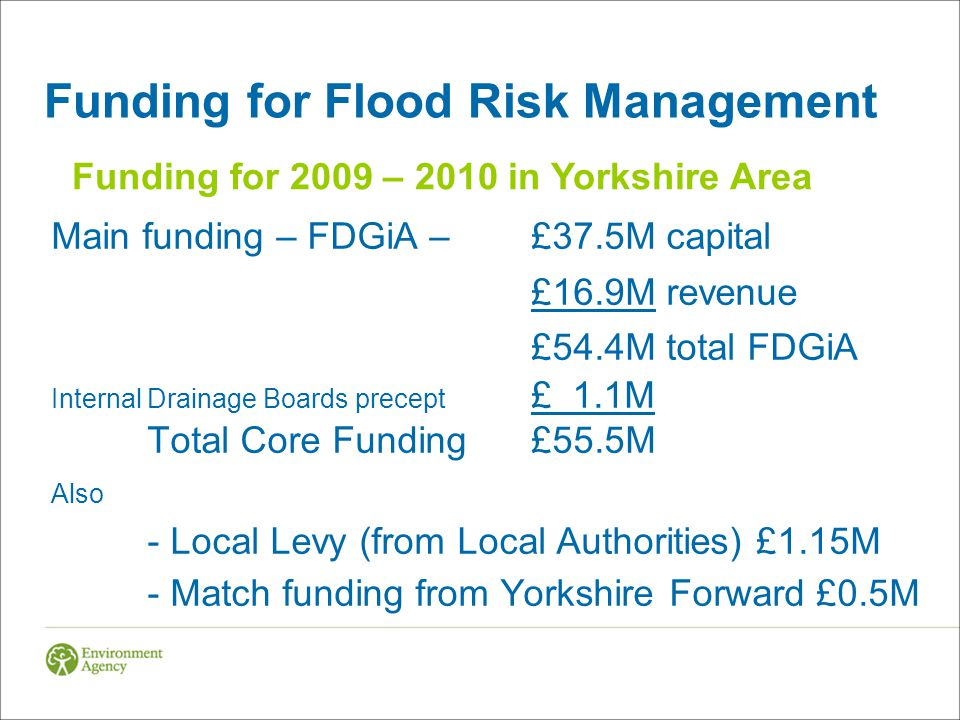 Funding for Flood Risk Management Main funding – FDGiA – £37.5M capital £16.9M revenue £54.4M total FDGiA Internal Drainage Boards precept £ 1.1M Total Core Funding£55.5M Also - Local Levy (from Local Authorities) £1.15M - Match funding from Yorkshire Forward £0.5M Funding for 2009 – 2010 in Yorkshire Area