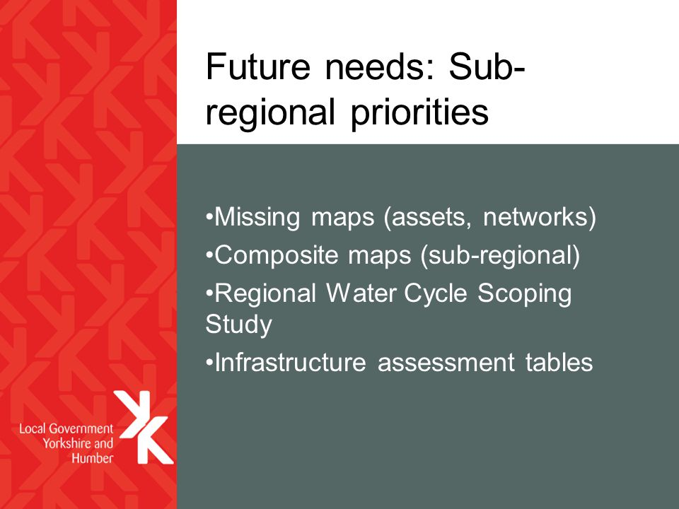 Future needs: Sub- regional priorities Missing maps (assets, networks) Composite maps (sub-regional) Regional Water Cycle Scoping Study Infrastructure assessment tables