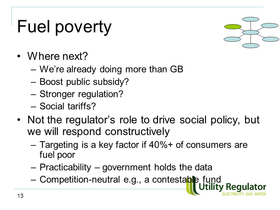 13 Fuel poverty Where next. –We're already doing more than GB –Boost public subsidy.