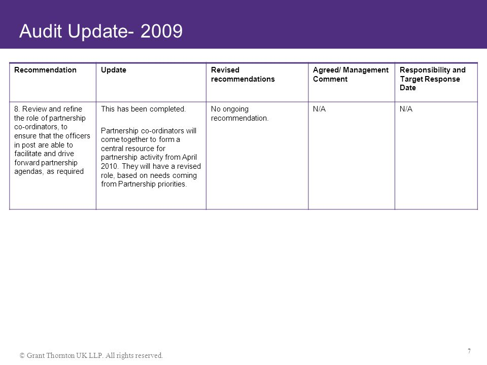 © Grant Thornton UK LLP. All rights reserved. 7 Audit Update- 2009 RecommendationUpdateRevised recommendations Agreed/ Management Comment Responsibili