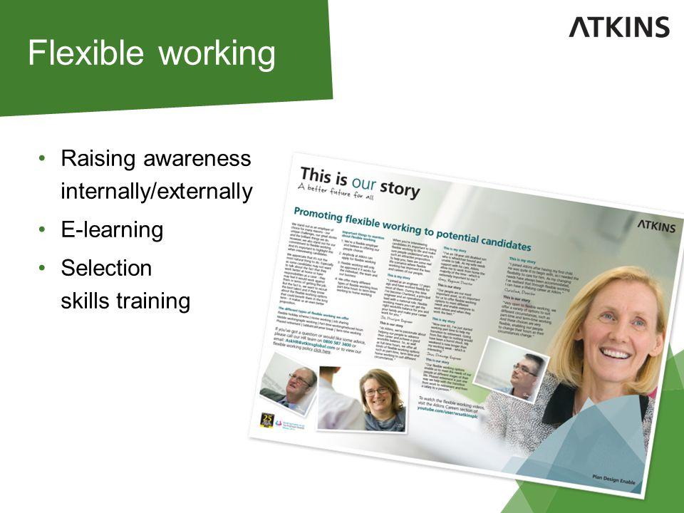 Raising awareness internally/externally E-learning Selection skills training Flexible working