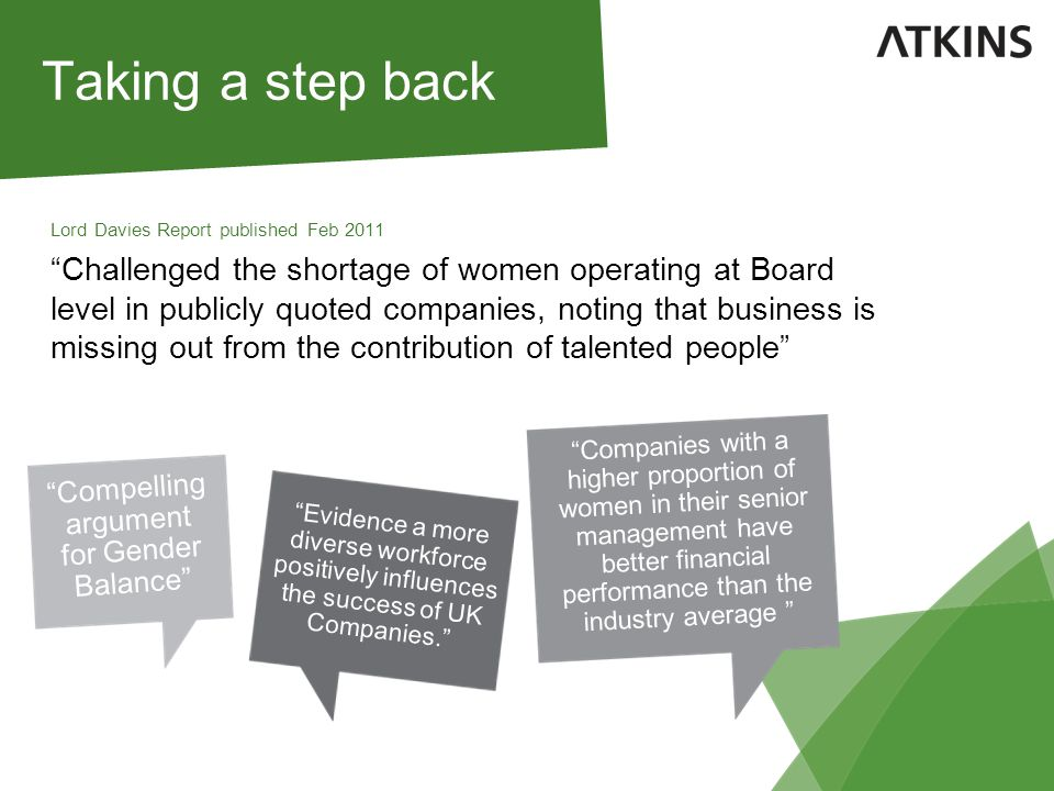 Taking a step back Lord Davies Report published Feb 2011 Challenged the shortage of women operating at Board level in publicly quoted companies, noting that business is missing out from the contribution of talented people Compelling argument for Gender Balance Evidence a more diverse workforce positively influences the success of UK Companies. Companies with a higher proportion of women in their senior management have better financial performance than the industry average