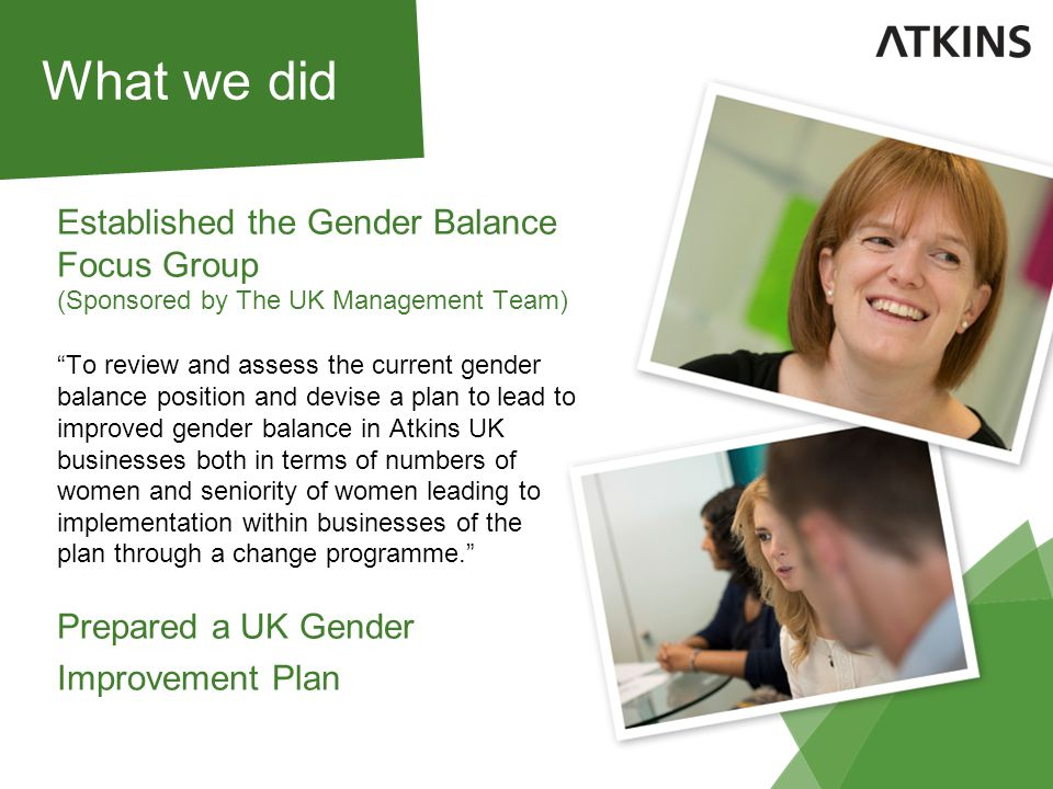 UK Gender Balance Improvement Plan The GBIP separately deals with: Candidate Attraction Recruitment Development Engagement and Retention Senior Promotions The UK-GBIP reflects the life-cycle of an employee, addressing the issues that may impact upon attraction or retention of women in Atkins