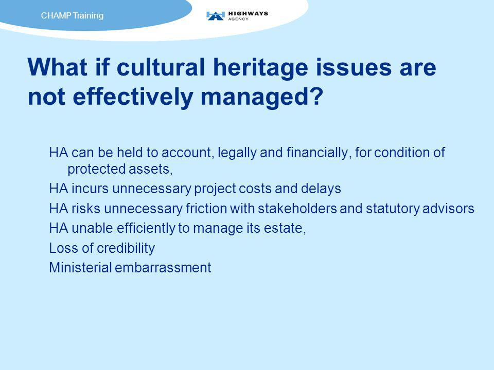 What if cultural heritage issues are not effectively managed.