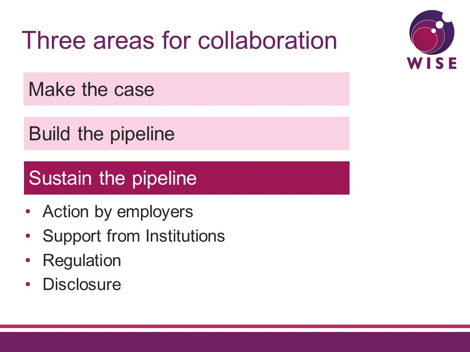Three areas for collaboration Make the case Build the pipeline Sustain the pipeline Action by employers Support from Institutions Regulation Disclosure