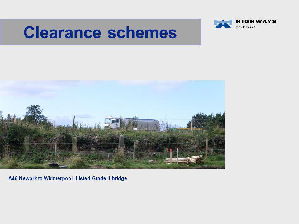Clearance schemes A46 Newark to Widmerpool. Listed Grade II bridge