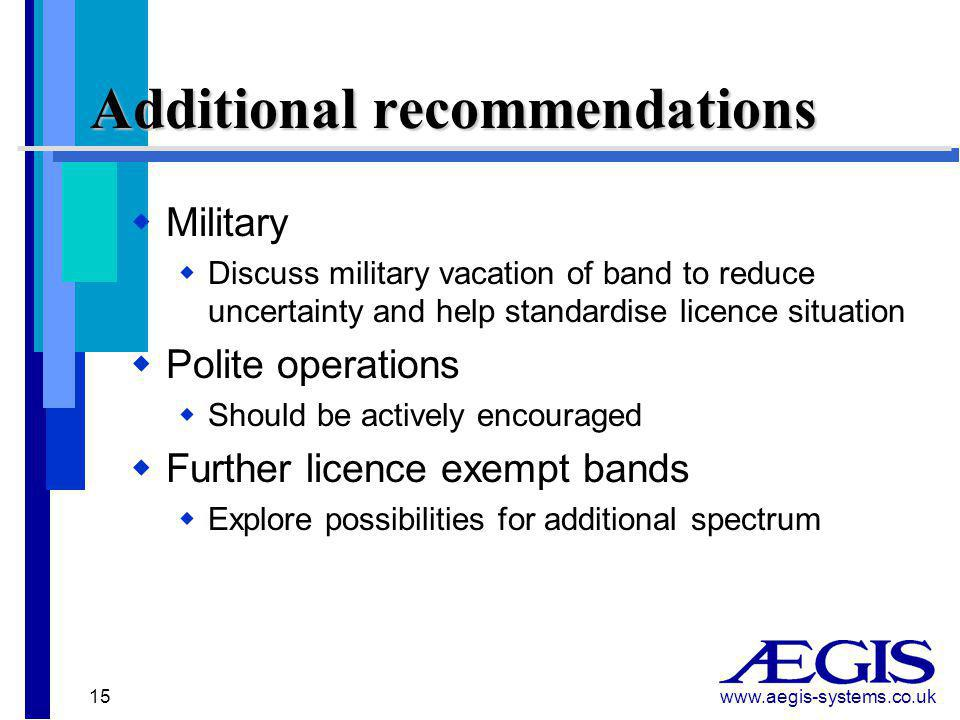 www.aegis-systems.co.uk 15 Additional recommendations  Military  Discuss military vacation of band to reduce uncertainty and help standardise licence situation  Polite operations  Should be actively encouraged  Further licence exempt bands  Explore possibilities for additional spectrum