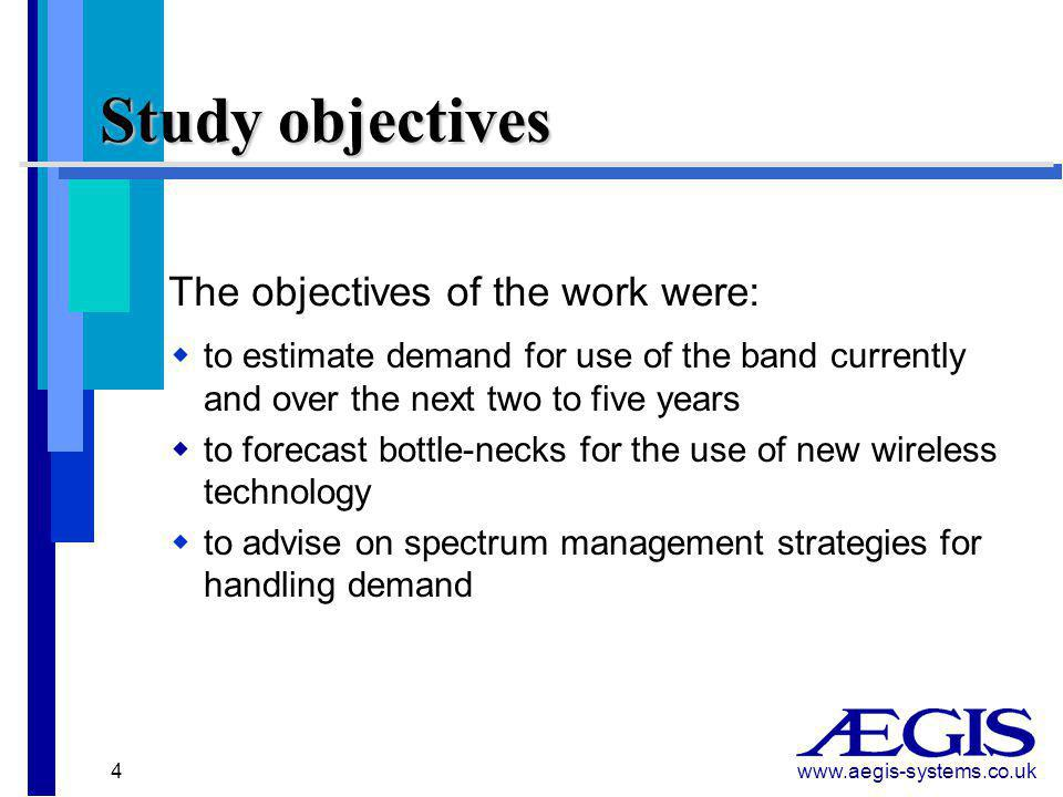 www.aegis-systems.co.uk 15 Additional recommendations  Military  Discuss military vacation of band to reduce uncertainty and help standardise licence situation  Polite operations  Should be actively encouraged  Further licence exempt bands  Explore possibilities for additional spectrum