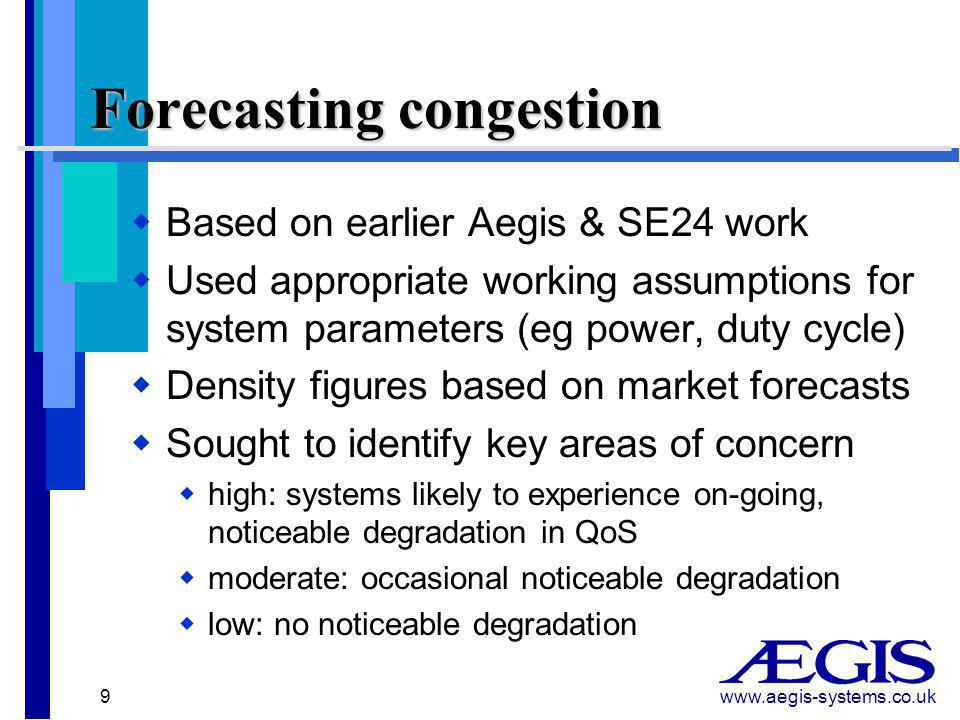www.aegis-systems.co.uk 9  Based on earlier Aegis & SE24 work  Used appropriate working assumptions for system parameters (eg power, duty cycle)  Density figures based on market forecasts  Sought to identify key areas of concern  high: systems likely to experience on-going, noticeable degradation in QoS  moderate: occasional noticeable degradation  low: no noticeable degradation Forecasting congestion