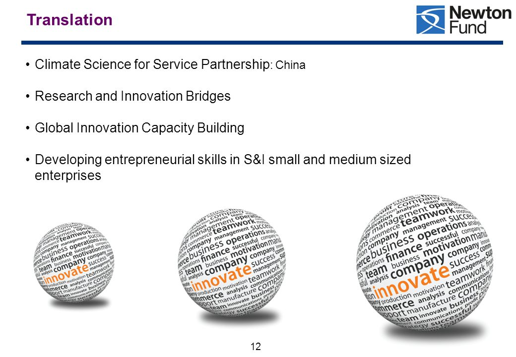 12 Translation Climate Science for Service Partnership : China Research and Innovation Bridges Global Innovation Capacity Building Developing entrepreneurial skills in S&I small and medium sized enterprises