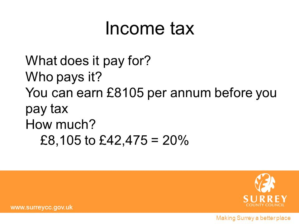 Income tax www.surreycc.gov.uk Making Surrey a better place What does it pay for.